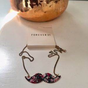 NWT Forever21 Floral Mustache Pendant Necklace